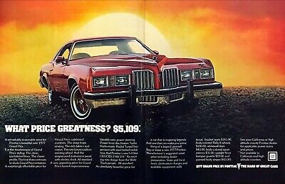 """1977 Pontiac Grand Prix Coupe photo """"What Price Greatness?"""" 2-page print ad"""