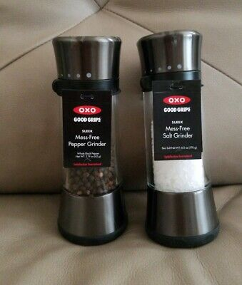 OXO Good Grips 'Lua' Manual Salt and Pepper Mill Set Gunmetal NEW !