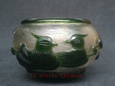 Collection China Old Glass Hand Carved Lotus Mandarin Duck Water Washing Bowl