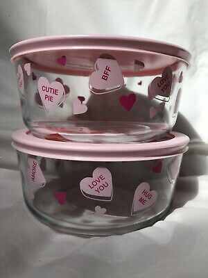 LOT of 2 Pyrex 7 Cup Bowl w/Lid Conversation Candy Hearts LIMITED 2019 Valentine