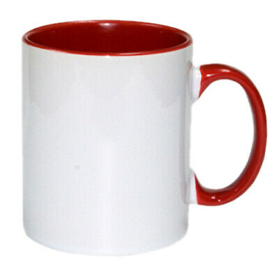 PACK OF 36 Inside & Handle Colour 11oz Sublimation Mugs With Gift Box - RED