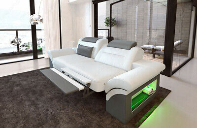 Leather Sofa Two Seater Monza Designer Luxury Couch LED Bed Function