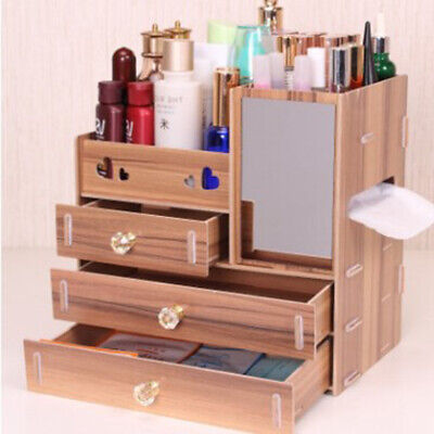 Wooden Makeup Case Cosmetic Organiser Boxes Drawer Cabinet Mirror Boxes Storage