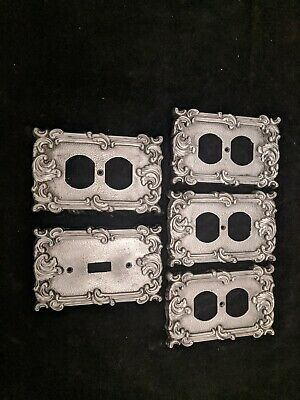 60's Vintage Cast Aluminum (4) outlet Plates (1) switch plate
