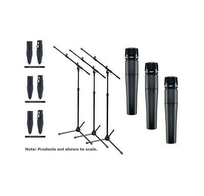 Shure SM57LC-TRIO-K TRIO Bundle 3 SM57 Cardioid Dynamic Microphones +Stand/Cable