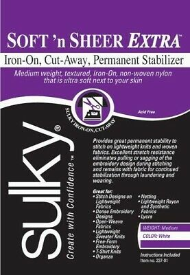 Sulky Soft N Sheer Extra Fusible Iron On Embroidery Stabilizer Backing Cut Away
