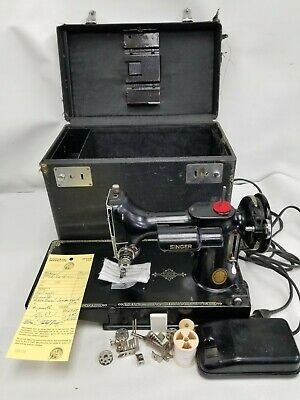 Vtg 1951 Singer Featherweight 221 Sewing Machine Case Works Serviced