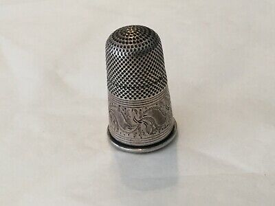"""Antique Georgian silver """"novelty""""  thimble with screw on bottom engraved seal"""