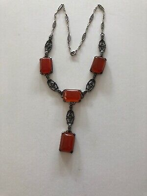 Antique Art Deco Sterling Silver  Marcasite Carnelian Necklace w/ Drop 15 1/2""