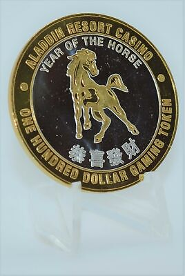 Rare Casino Token - $100 Aladdin Casino Las Vegas Nevada Year of The Horse 2002