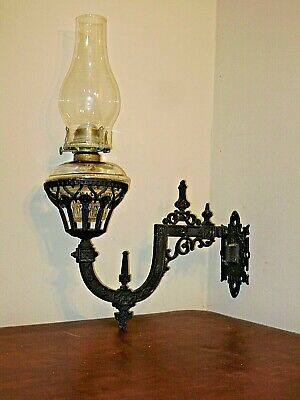 Antique Large Ornate Cast Iron Wall Bracket & Oil Lamp A