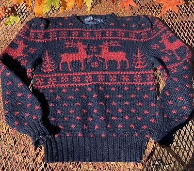 Ralph Lauren Hand Knit Red 100% Wool Pull Over Nordic Sweater Girls/Youth Medium