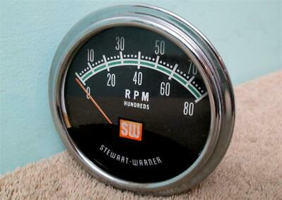 Vintage SW Greenline Tach 8,000 RPM Stewart Warner Tachometer Hot Rod Muscle Car