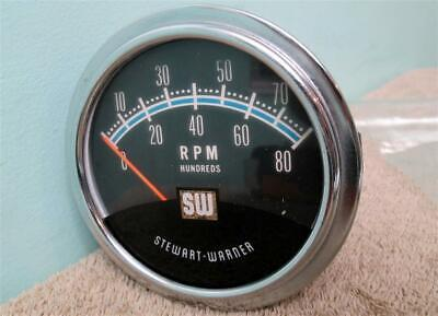 Vintage SW Blue Line Tach 8,000 RPM Stewart Warner Tachometer Hot Rod Muscle Car