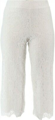 Isaac Mizrahi Floral Lace Knit Culotte Pants Bright White S NEW A353075