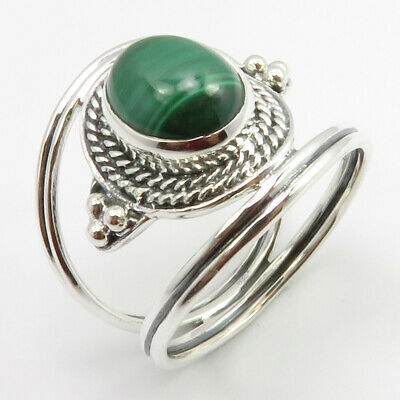 925 Pure Sterling Silver Oval Cabochon Malachite Antique Style Ring Size 9.25