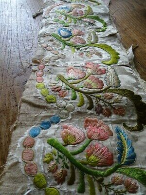 French antique 18th-century embroidery floral decor