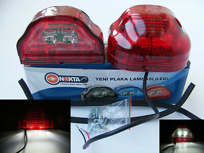 2x 12V/24V 2LED Rear Tail Marker Lights and Number Plate Lamps Truck Trailer Bus