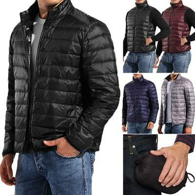Packable Light Mens Down Puffer Jacket Bubble Ski Coat Quilted Padded Outwear U3