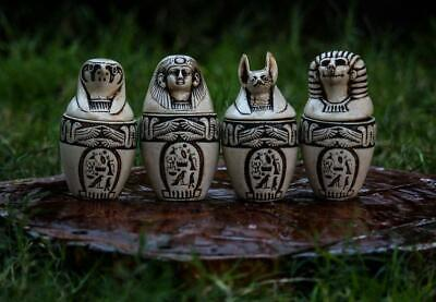 Vintage Set of 4 Canopic Ancient Egyptian Statue Pharaonic Engraved Storage Jars