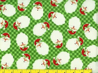 Happy Santa on Blue Christmas Quilting Fabric by Yard #3042