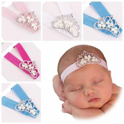 Girls Princess Infant Toddler Diamonds Head Wrap Pearl Crown Hairband Headband