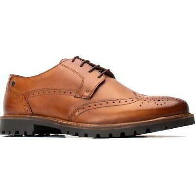 Base London Grundy Mens Tan Leather Lace Up Country Brogues Shoes Size 8-11