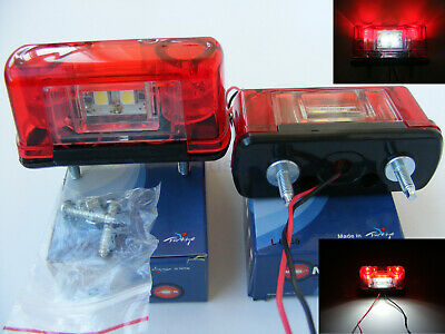 2x 12V/24V 4LED Rear Tail Marker Lights and Number Plate Lamps Truck Trailer Bus