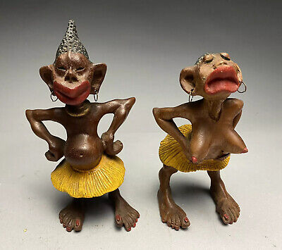 Pair Of 20c. African Carved Wood Anri Caricature Figurines