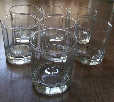 Anchor Hocking Clear 10 Panaled Old Fashioned On The Rocks Glasses Set Of 7