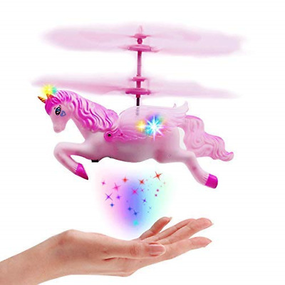 Flying Unicorn Drone Toys Gifts for Girls Age 6 7 8 9-14 Years Old, Pink Mini