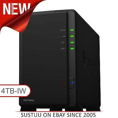 Synology DiskStation DS218play 4TB (2 x 2TB SGT-IW) 2 Bay Desktop NAS Unit NEW