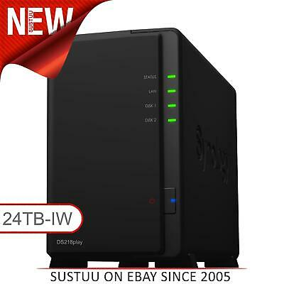 Synology DiskStation DS218play 24TB (2 x 12TB SGT-IW) 2 Bay Desktop NAS Unit NEW