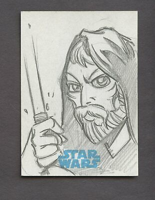 Star Wars JTTFA Journey to the Force Awakens Sketch Card OBI-WAN KENOBI BUKSHOT!