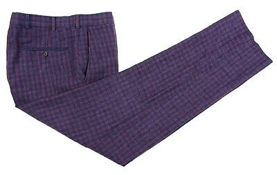 Brooks Brothers Fitzgerald Blue Red Check ITALIAN LINEN Flat Front Pants 35 x 31