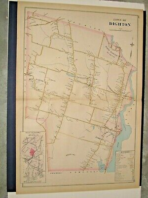 Dighton, Ma.,  1895 Map Removed From Everts & Richards Atlas, Not A Reprint