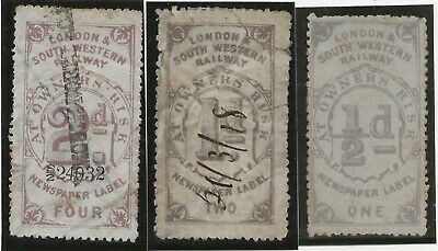 3 London & South Western Railway early Parcel Stamps