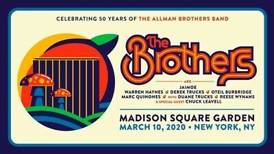 Allman BROTHERS 50 concert 3/10 MSG 2 Tickets SEC 420 Row 7 NYC Etix Get Now