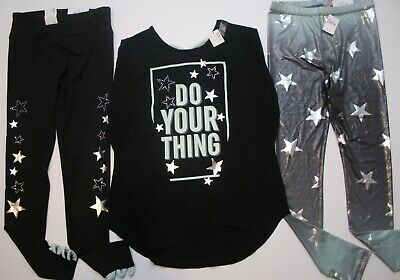 NWT Girls JUSTICE Active Do Your Thing Shirt & Star Leggings Size Top PLUS 14 16