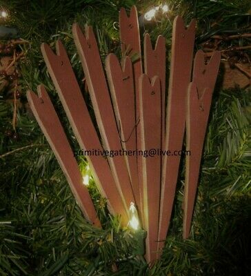 10 Pencil Wood Patriotic Americana HEARTS Primitive Ornies Ornaments Tucks