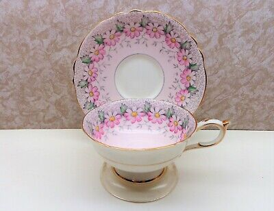 Vintage PARAGON Fine Bone China England Cup Saucer MARGOT Flowers Daisies Exc
