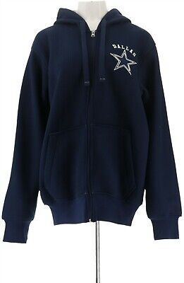 NFL Dallas Team Color Knit Sherpa Lining Zip Up Hoodie Cowboys L NEW A295851