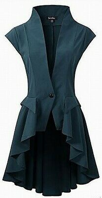 Dark Chic Women's Top Jacket Green 16 Gothic Steampunk Tail Victorian $319 #818