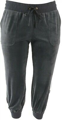 AnyBody Petite Velour Jogger Pants Graphite PS NEW A345308