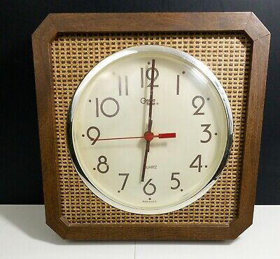 Cosmo Time Clock Wood Mid Century Modern Woven Design Vintage Wall