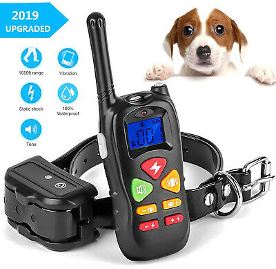 Electric Dog Training Shock Collar With LCD Remote Pet No Bark Collar Waterproof