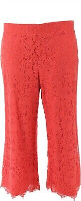 Isaac Mizrahi Floral Lace Knit Culotte Pants Sunset Coral 1X NEW A353075