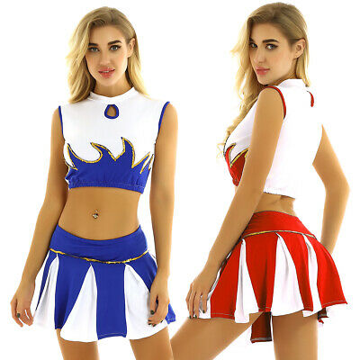 Women School Girl Musical Party Uniform Fancy Dress Costume Cheer leader Outfit