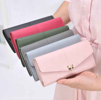 High Quality Women Leather Tri-fold Wallet Long Card Holder Purse Handbag US