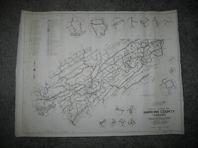 Vintage 60's 1969 Map Antique Tennessee Hawkins County Highway